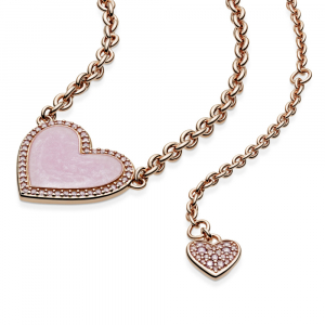 Heart Pandora Rose collier with Fancy fairy tale pink cubic zirconia and rose enamel