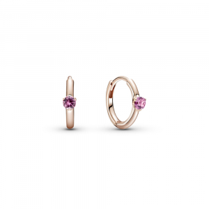 Pandora Rose hoop earrings with phlox pink crystal