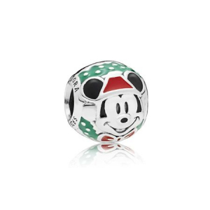 Disney Mickey Santa silver charm with green, red and black enamel