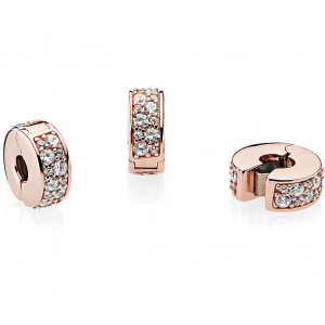 14k Rose gold-plated clip with clear cubic zirconia and silicone grip