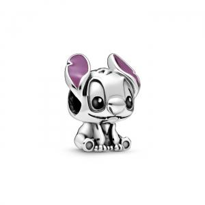Disney Stitch silver charm with black and purple enamel