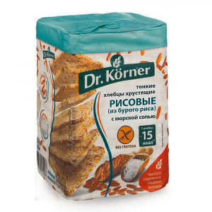 Хлебцы DrKorner Рисовые с морской солью 100гр