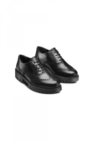 FLEXIBLE SHOES LACED IN REAL LEATHER MATERIAL; BLACK COLOR.
