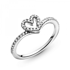 Heart and wishbone sterling silver ring with clear cubic zirconia