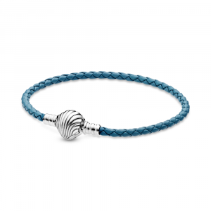 Sterling silver turquoise braided leather bracelet and shell clasp