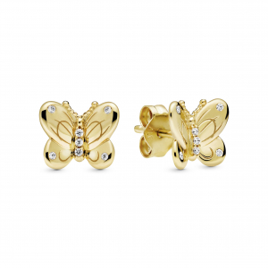 Butterfly Pandora Shine stud earrings with clear cubic zirconia