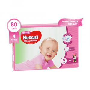 Подгузники для девочек Huggies Ultra Comfort 4 8-14 кг 80 шт