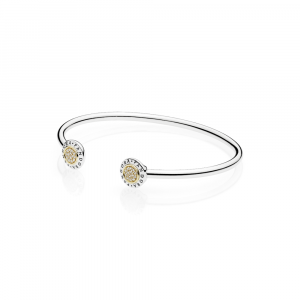 PANDORA logo silver open bangle with 14k and clear cubic zirconia