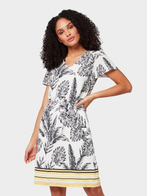 dress printed wit, offwhite tropical, 32