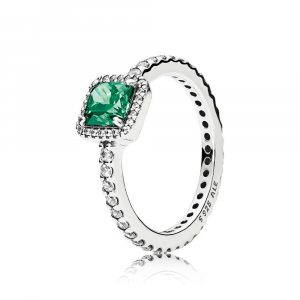 Silver ring with green and clear cubic zirconia