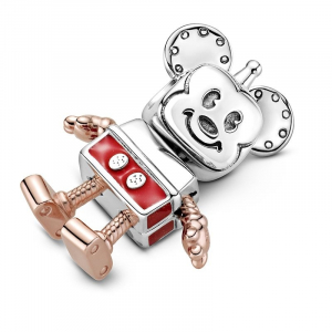 Disney Mickey robot sterling silver and Pandora Rose charm with red enamel