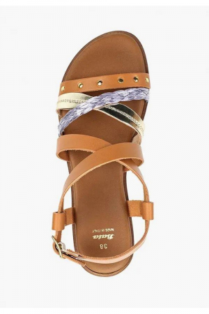 BATA. COW LEATHER+RAFFIA SANDAL, TAN/PLATINUM/VIOLETTE COLOUR