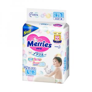 Подгузники для детей MERRIES размер L 9-14 кг 18 шт