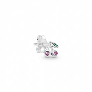 Cherries stud earring in sterling silver with cerise  and royal green crystal