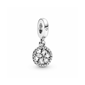 Snowflake sterling silver dangle with clear cubic zirconia