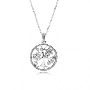 Family tree silver pendant with clear cubic zirconia and necklace